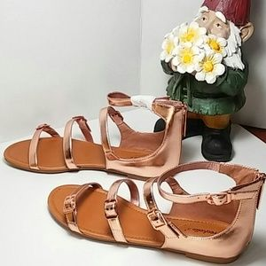Rose Gold Strappy Faux Leather Sandals sz 8.5
